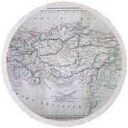 Map Of Turkey Or Asia Minor In Ancient Times Round Beach Towel