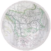 Map Of Turkey Or The Ottoman Empire In Europe Round Beach Towel