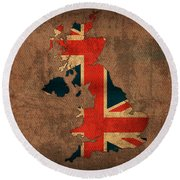 Map Of United Kingdom With Flag Art On Distressed Worn Canvas Round Beach Towel