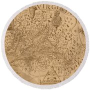 Map Of Virginia 1698 Round Beach Towel
