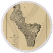 Map Of West Point 1883 Round Beach Towel