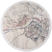 Map: Siege Of Atlanta 1864 Round Beach Towel