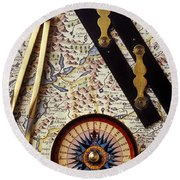 Map With Compass Tools Round Beach Towel