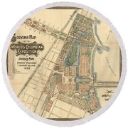 Map: Worlds Fair, 1893 Round Beach Towel