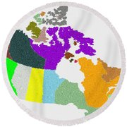 Maple Leaves Map Of Canada Round Beach Towel