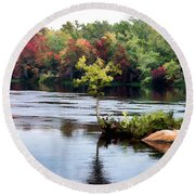 Maple Tree On A Rocky Island - V2 Round Beach Towel