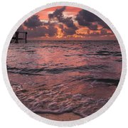 Marathon Key Sunrise Panoramic Round Beach Towel by Adam Romanowicz
