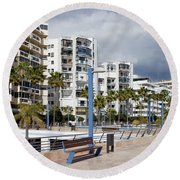 Marbella Apartment Buildings Round Beach Towel