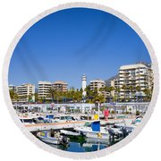 Marbella Marina In Spain Round Beach Towel
