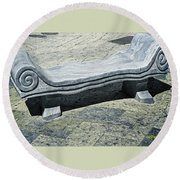 Abstract Marble Bench Round Beach Towel