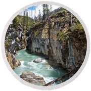 Marble Canyon In Kootenay Np-bc  Round Beach Towel