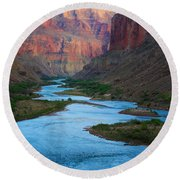 Marble Canyon Rafters Round Beach Towel by Inge Johnsson