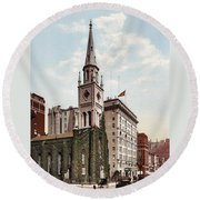 Marble Collegiate Church Holland House New York Round Beach Towel
