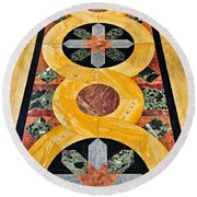 Marble Floor In Orthodox Church Round Beach Towel