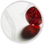 Marble Red Crackle 2 Round Beach Towel