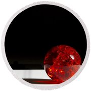 Marble Red Crackle 4 B Round Beach Towel