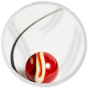 Marble Rooster Curve 1 Round Beach Towel