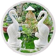 Marble Stork Sculptures In Xuat Anh-vietnam Round Beach Towel