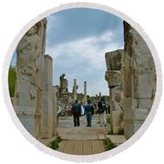 Marble Way From Theater To Central Ephesus-turkey Round Beach Towel