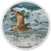 Marbled Godwit Over Surf Round Beach Towel
