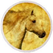 Marbled War Horse Round Beach Towel