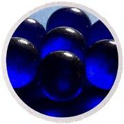 Marbles Blue 1 C Round Beach Towel