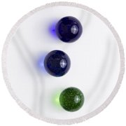 Marbles Blue Green Line 1 Round Beach Towel