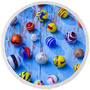 Marbles On Blue Board Round Beach Towel