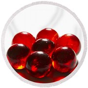 Marbles Red 3 B Round Beach Towel