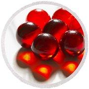 Marbles Red 3 C Round Beach Towel