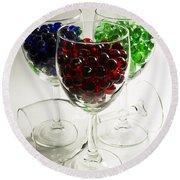 Marbles Wine Glasses 2 Round Beach Towel