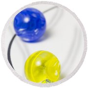 Marbles Yellow Blue Curve 1 Round Beach Towel