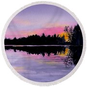 March Sunset In Maine Round Beach Towel