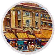 Marche Bonsecours Old Montreal Round Beach Towel