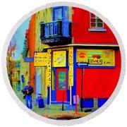 Marche Unique Cafe Sandwich Depanneur Rue St. Jacques St. Henri  Street Scenes Carole Spandau Round Beach Towel