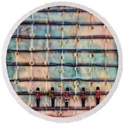 Marching Band Encaustic Round Beach Towel
