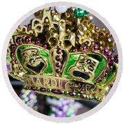 Mardi Gras Beads Round Beach Towel