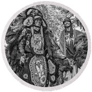 Mardi Gras Indian Monochrome Round Beach Towel