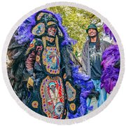 Mardi Gras Indian Round Beach Towel