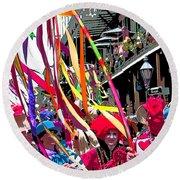 Mardi Gras Marching Parade Round Beach Towel