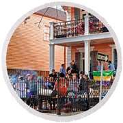 Mardi Gras Party On St Charles Ave New Orleans Round Beach Towel