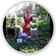 Mardi Gras Scarecrow At Bellingrath Gardens Round Beach Towel