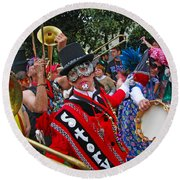 Mardi Gras Storyville Marching Group Round Beach Towel