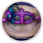 Mardi Gras Theme - Surprise Guest Round Beach Towel by Mike Savad