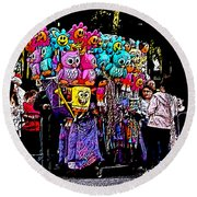 Mardi Gras Vendor's Cart Round Beach Towel
