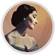 Maria Callas Painting Round Beach Towel