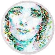Maria Callas - Watercolor Portrait.1 Round Beach Towel