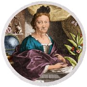 Maria Merian  Round Beach Towel by Science Source