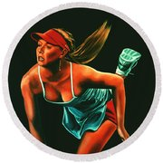 Maria Sharapova  Round Beach Towel