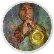 Mariachi Trumpet Player Round Beach Towel